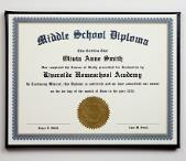 Middle School Diploma & Case with Personalized Certificate LARGE