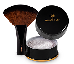 DOLCE DUST POWDER WITH BRUSH- COCONUT CREAM W/ SHIMMER 3.2 oz jar LARGE