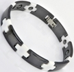 Ceramic Magnetic Energy Health Power Bracelet. Hematite Magnets + Negative Ion Black/White Color Image THUMBNAIL