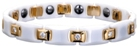 Ceramic Magnetic Energy Health Power Bracelet. Hematite Magnets + Negative Ion White/Gold/Crystals Image THUMBNAIL