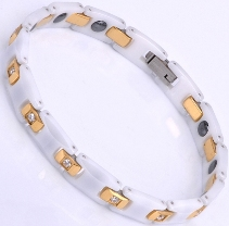 Ceramic Magnetic Energy Health Power Bracelet. Hematite Magnets + Negative Ion White/Gold/Crystals Image LARGE