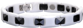 Ceramic Magnetic Power Bracelet. Hematite Magnets + Negative Ion White/Black Color Image