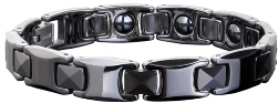 Ceramic Magnetic Power Bracelet. Hematite Magnets + Negative Ion Black Color Image LARGE