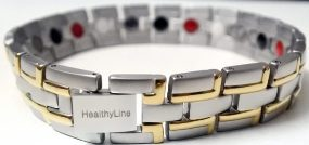 Stainless Steel Magnetic Power Bracelet. Magnets + Negative Ion + Far Infra Red + Germanium Silver/Gold Color Image LARGE