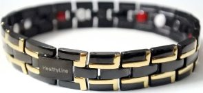 Stainless Steel Magnetic Power Bracelet. Magnets + Negative Ion + Far Infra Red + Germanium Black/Gold Color Image LARGE