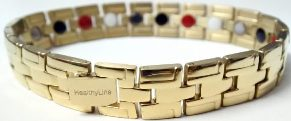 Stainless Steel Magnetic Power Bracelet. Magnets + Negative Ion + Far Infra Red + Germanium Gold Color Image