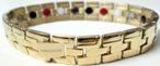 Stainless Steel Magnetic Power Bracelet. Magnets + Negative Ion + Far Infra Red + Germanium Gold Color Image THUMBNAIL
