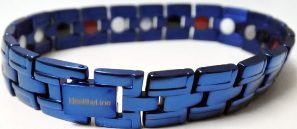 Stainless Steel Magnetic Power Bracelet. Magnets + Negative Ion + Far Infra Red + Germanium Blue Color Image LARGE