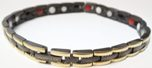 Stainless Steel Magnetic Power Bracelet. Magnets + Negative Ion + Far Infra Red + Germanium Black/Gold Color Image THUMBNAIL