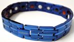 Stainless Steel Magnetic Power Bracelet. Magnets + Negative Ion + Far Infra Red + Germanium Blue Color Image THUMBNAIL