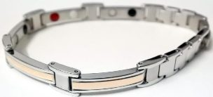 Stainless Steel Magnetic Power Bracelet. Magnets + Negative Ion + Far Infra Red + Germanium Silver/Peach Color Image_LARGE