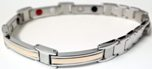 Stainless Steel Magnetic Power Bracelet. Magnets + Negative Ion + Far Infra Red + Germanium Silver/Peach Color Image THUMBNAIL