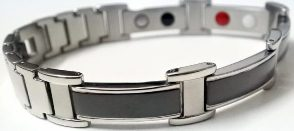 Stainless Steel Magnetic Power Bracelet. Magnets + Negative Ion + Far Infra Red + Germanium Silver/Black Color Image LARGE