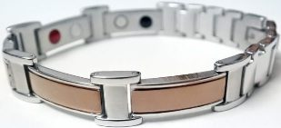 Stainless Steel Magnetic Power Bracelet. Magnets + Negative Ion + Far Infra Red + Germanium Silver/Brown Color Image_LARGE