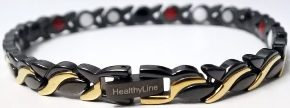 Stainless Steel Magnetic Power Bracelet. Magnets + Negative Ion + Far Infra Red + Germanium Black/Gold Color Image_LARGE