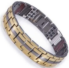 Titanium Stainless Steel, Ion FIR Energy, Germanium, Magnetic Power Bracelet Image LARGE