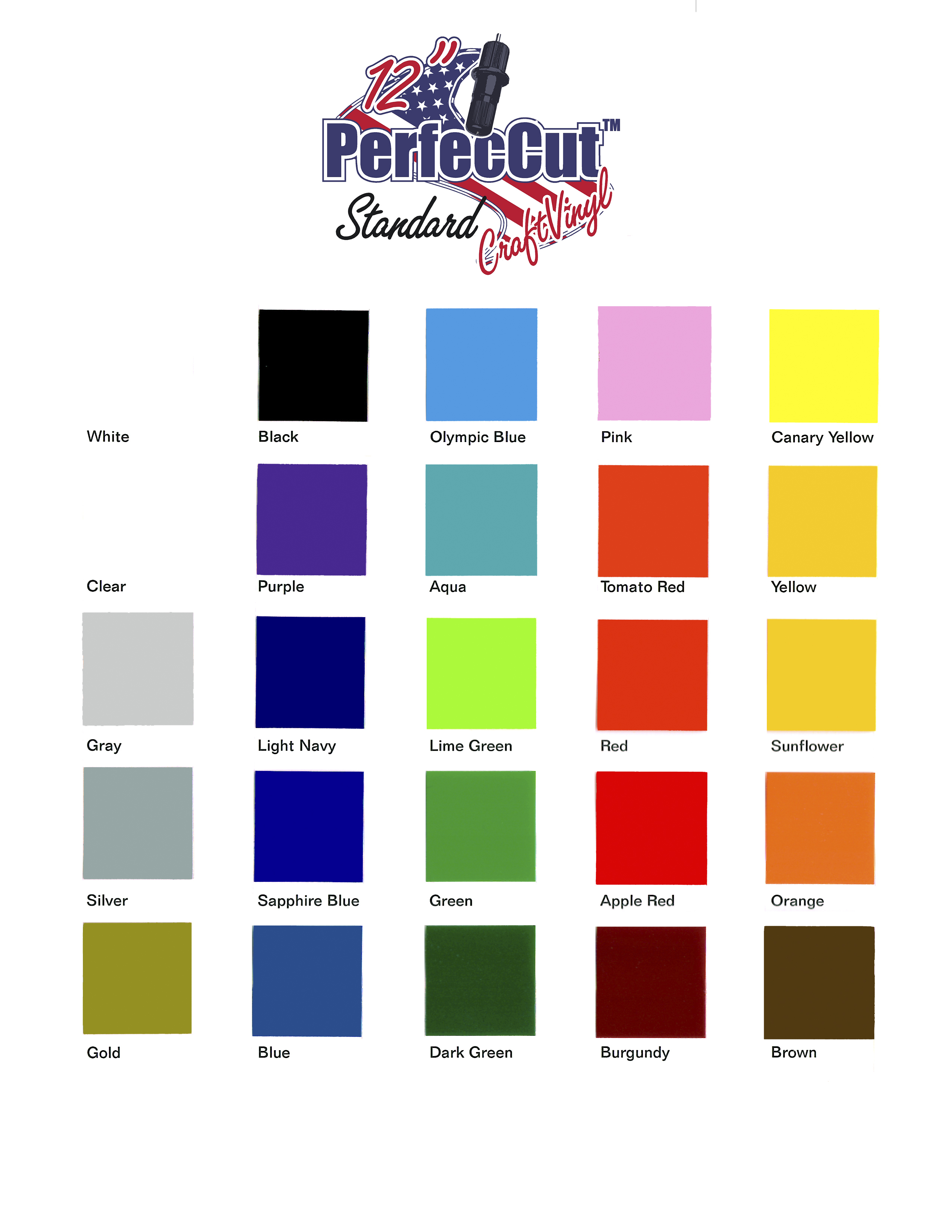 PerfecCut Color Chart