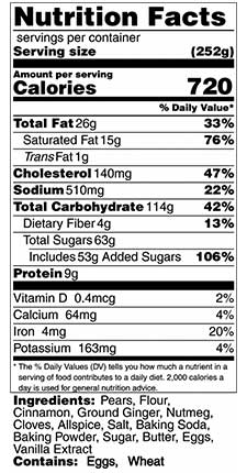 spiced pear bread nutrition facts
