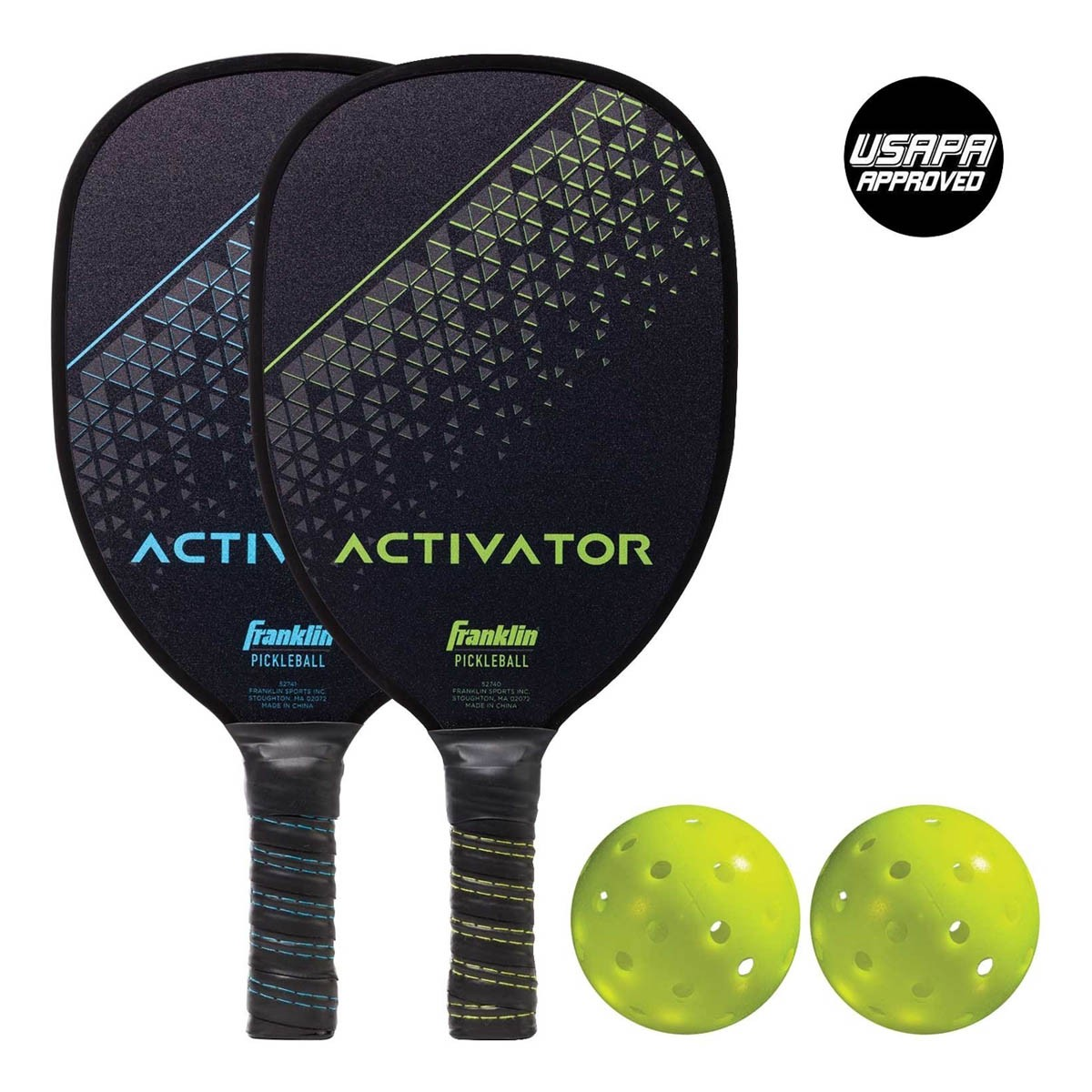 52742 Franklin Activator 2 Player Wood Pickleball Paddle and Ball Set MAIN