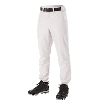 605PW Alleson Adult Pants with Belt Loop - White LARGE