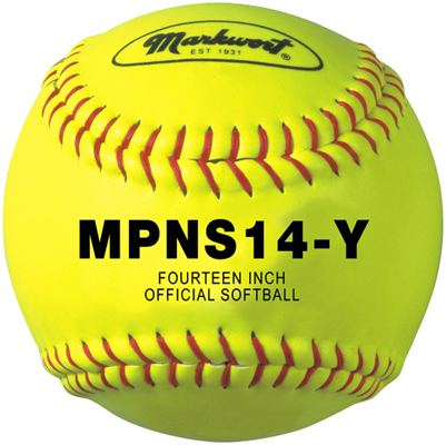 "Markwort Softball Leather 14"" Poly Core Yellow/Red Stitch THUMBNAIL"