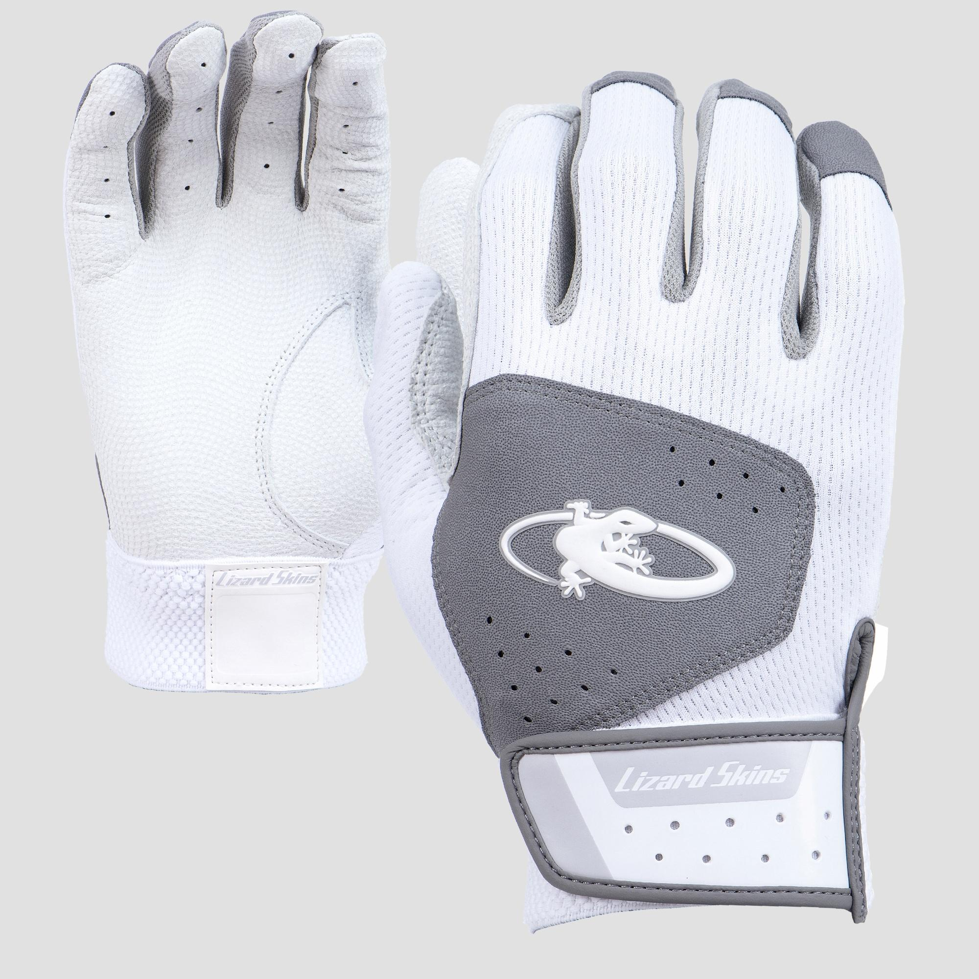 AKOM-W Lizard Skins Adult Komodo Batting Gloves - White/Gray THUMBNAIL