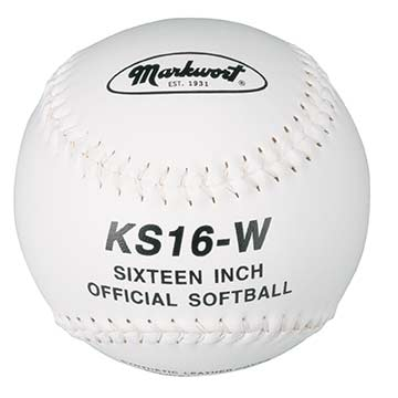 "Markwort 16"" Softball Synthetic White/White Stitch THUMBNAIL"