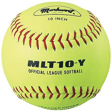 "Markwort Leather Softball 10"" Yellow W/Red Stitching - Dozen THUMBNAIL"
