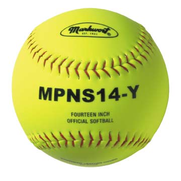"Markwort 14"" Softball Syn. Cover Yellow/Red Stitch THUMBNAIL"
