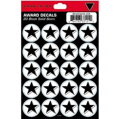 D3312B SportStar Helmet Award Decals - Solid Black Star THUMBNAIL