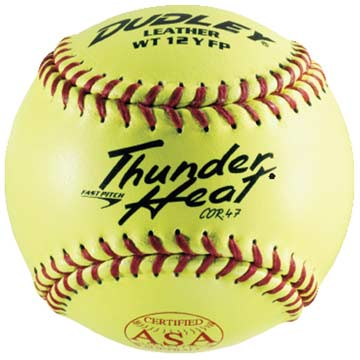 "4A147Y Dudley Thunder Heat WT2 Leather Cover 12"" Softball 47/375 MAIN"