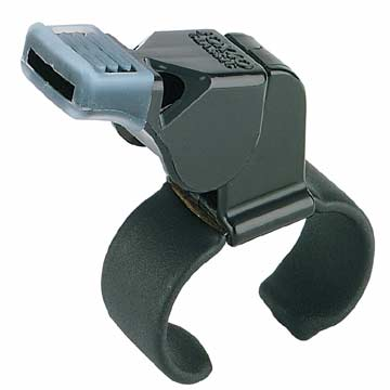 Fox 40 Classic Finger Grip Whistle with Cushion Mouth Grip - Black THUMBNAIL
