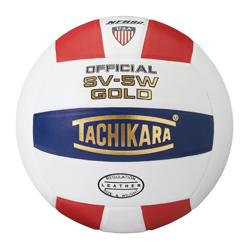 GOLDSWN Tachikara NFHS SV-5W Gold Volleyball - Scarlet/White/Navy THUMBNAIL