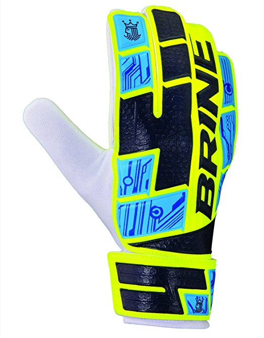Brine King Match 2x 2015 Goalie Gloves - Yellow/Navy - Size 4 Junior THUMBNAIL