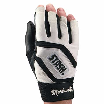 SMMLBW Stash Glove Adult Left Black/White Half Finger Glove THUMBNAIL