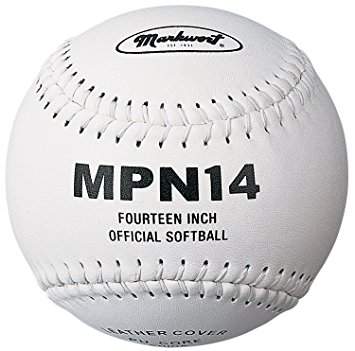 "Markwort Softball 14"" Poly Core White/White Stitch THUMBNAIL"