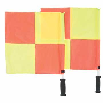 Markwort Soccer Linesman Flags - Checkered Orange/Yellow THUMBNAIL