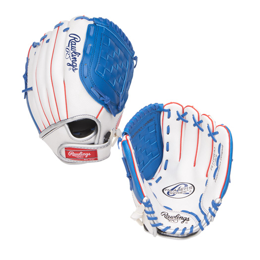 "PL110WNS Rawlings Player's Series Youth 11"" Glove - Regular White/Blue THUMBNAIL"