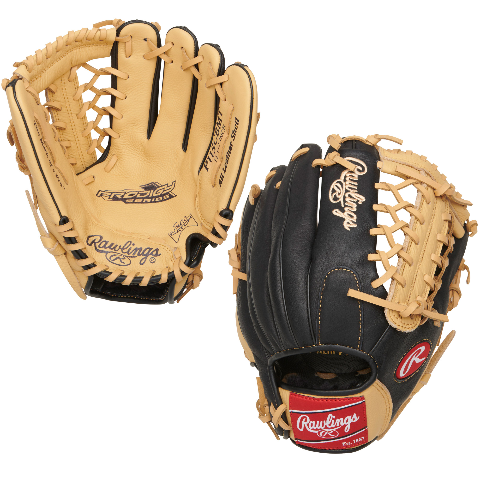 "P115CBMT Rawlings Prodigy Series Ball Glove Trap-Eze Web 11.5"" - Regular THUMBNAIL"