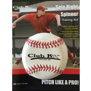 SPINBW Club K Spin Right Spinner Baseball - White LARGE