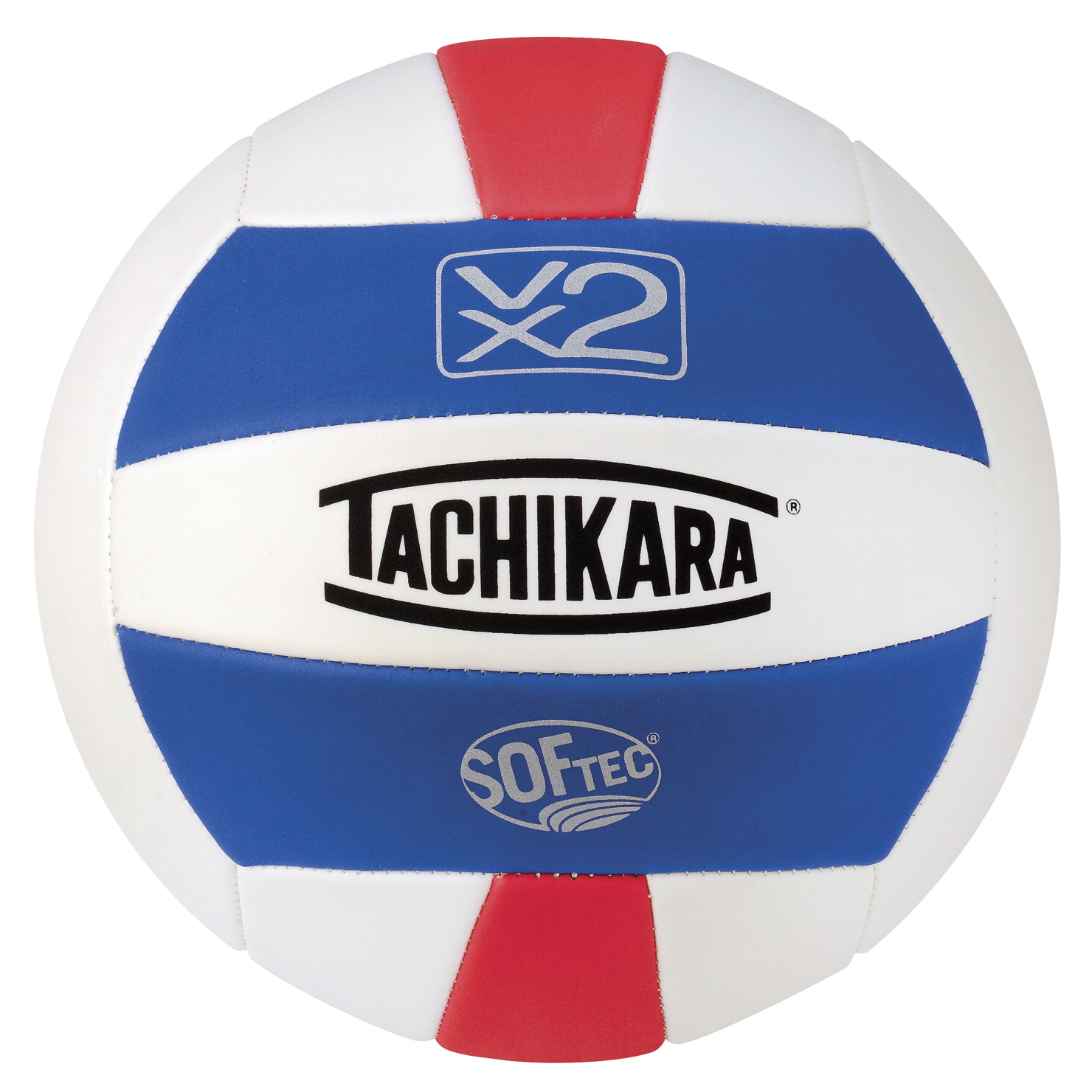 Tachikara Softec Foam-Backed Panel Volleyball - Royal/White/Scarlet THUMBNAIL