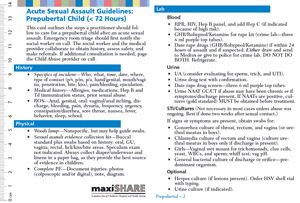 Acute Sexual Assault Guidelines Pocket Tool: Prepubertal and Adolescents (free electronic download) MAIN