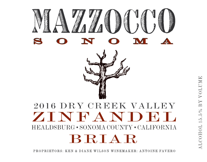 2016 Zinfandel Briar, Dry Creek Valley