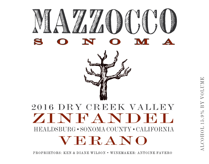 2016 Zinfandel Verano, Dry Creek Valley