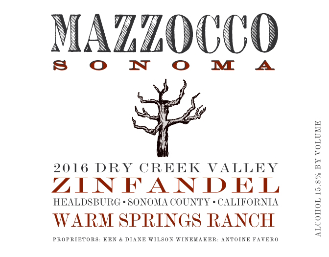 2016 Zinfandel Warm Springs Ranch, Dry Creek Valley