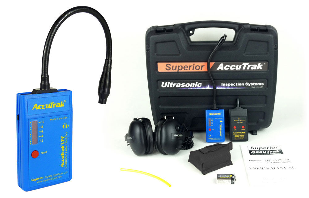 Superior AccuTrak® VPE-GN Ultrasonic Leak Detector--Pro-Plus Kit with GooseNeck Probe and Hard Hat Headphones MAIN