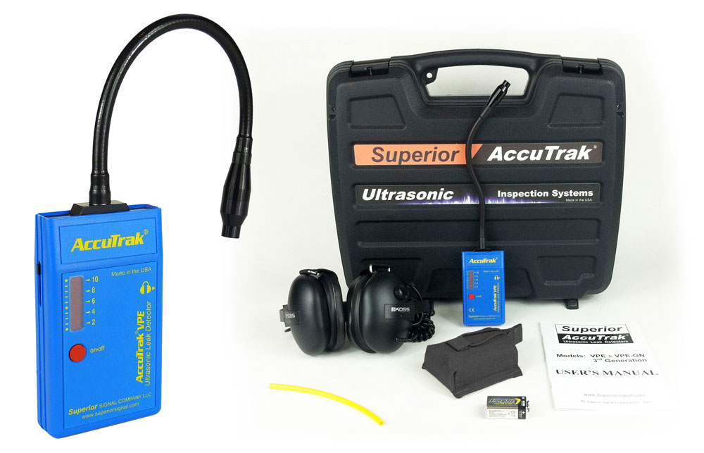 Superior AccuTrak® VPE-GN-PRO Ultrasonic Leak Detector--Professional Kit with Hard Hat Headphones and GooseNeck Probe THUMBNAIL