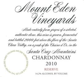 2010 Mount Eden  RESERVE Chardonnay, Santa Cruz Mountains MAIN
