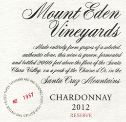 2012 Mount Eden  RESERVE Chardonnay, Santa Cruz Mountains