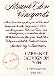 2004 Estate Bottled Cabernet Sauvignon, Santa Cruz Mountains